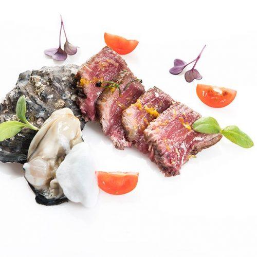 Atún marinado con ostra y aire de limón. Albores Restaurante Jerez